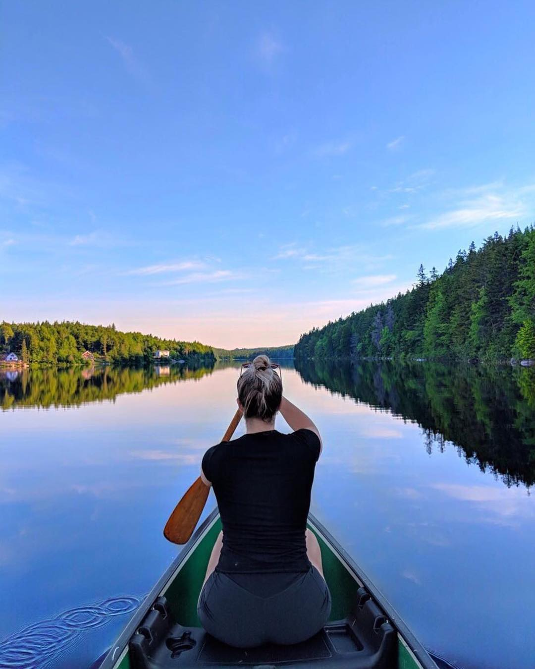 Meanwhile, less than one hour's drive from Downtown Halifax, we have this scene 🙏 . Go to the link in our bio and tap this image to discover 10 Outdoor Adventures You HAVE to Experience This Summer in Halifax 🚣‍♀️ . 📍 Conrod Lake, Eastern Shore Region 📷: @lauraahawkins