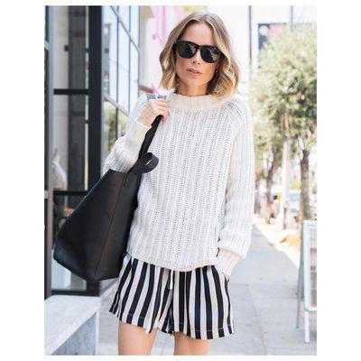 Today. Wearing Mila silk shorts & my favorite knit ❥