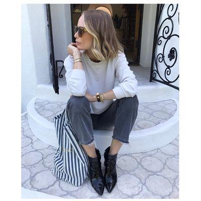 Natalie boots. Denim. Striped tote & sweatshirt.