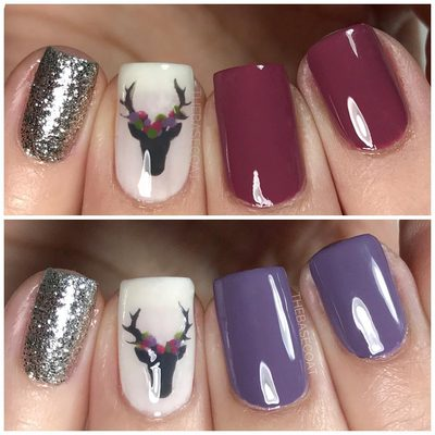 You know these pink/burgundy deer nails? Well I actually did them in purple first, didn't like them, re-did them, and posted the pink version. Looking back, I actually almost like the purple version better. Which one do you like more? Let me know in the comments! (Find this Deer stencil at the link in my bio 🦌) . . . #nails #nailart #nailpolish #deernails #purplenails #pinknails #glitternails #nailporn #ottawa #polishednails #nailstencils #nailvinyls #essielove #essie #opi #orly #thebasecoat