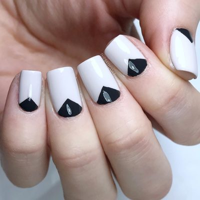 Simple dark chevron moon nails! Crazy colourful nail art is always fun, but I always find looks like these to be so eye catching! Created using the Stacked Chevron Nail Stencils from my shop - link in bio! . . . #chevron #chevronnails #simplenails #simplenailart #blackandwhitenails #geometricnails #nails #nailart #nailpolish #nailvinyls #nailstencils #nailsofinstagram #naildesigns #thebasecoat #polish #ottawa #shoplocal613 #opi #essie #loreal #essielove