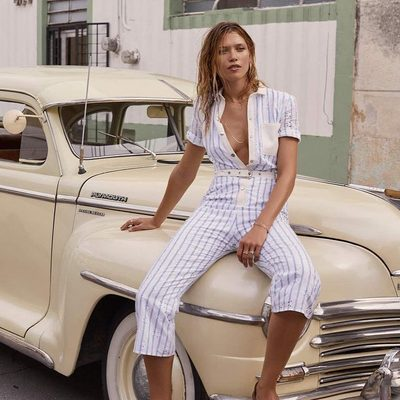 Let's ride 🌊 The Hermosa Striped Eyelet Jumpsuit | Tap to shop