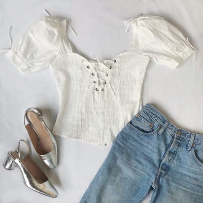 Meet your new favorite spring top, The Anabelle Blouse | Eyelet and lace in all the right places 🕊
