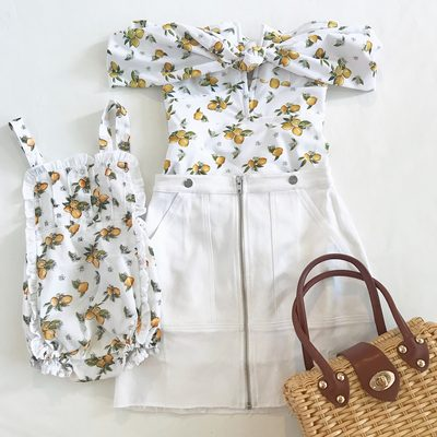 Something for you and your littles 🍋 Matching mommy outfits paired with our kids line @lillemons, fresh at our pop up shop this weekend! Swipe 👉 for the invite to the event this Sunday!