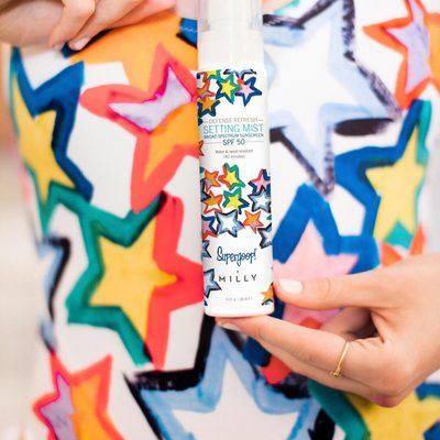 We're starry-eyed over our limited edition Milly x Supergoop! Defense Refresh Setting Spray SPF 50 🤩 #supergoopxmilly