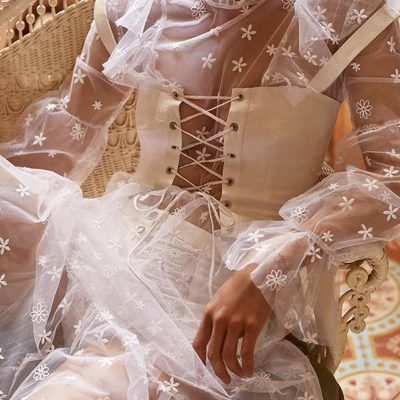 Piling up diferrent layers of sheer and lace 🕊 The Claudia Ruffle Midi Tulle Dress, Poppy Lace Up Corset, & the Daisy Eyelet Snap Up Panty