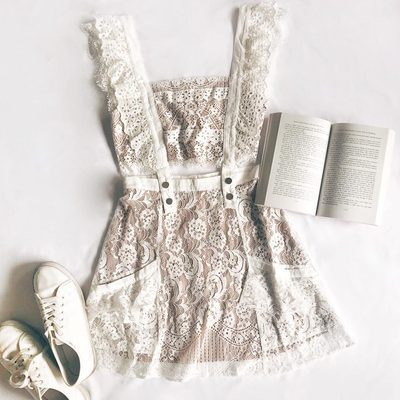 Leisure chic 📖 The Tati Pinafore Lace Dress, complete with removable & adjustable overall straps
