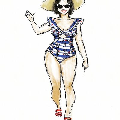 How adorable is this illustration by @fernipoo?! Shop the swimsuit at the link in bio 🏖 #XOQ