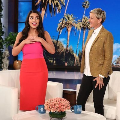 🎶MAKE WAY❤️ @auliicravalho aka the smart and independent Moana rockin' MILLY on @theellenshow! Shop the newly back in stock pencil dress👆#thefutureisfemale #MILLYmoment #moana