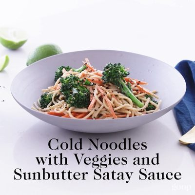 Super versatile, this noodle salad works with just about any raw or cooked veggies of your choosing. #goopmake • • What you need: -6 ounces brown rice spaghetti -2 cups broccoli florets -1 large carrot, julienned -½ SunButter sauce recipe -water as needed -lime juice - sesame seeds to garnish • How to make: 1. Bring a large pot of water with salt to a boil. Add the brown rice spaghetti and cook for 13 minutes, stir occasionally to make sure the noodles aren't clumping. 2. Add the broccoli florets to the pasta water and cook everything for another 2 minutes. Drain and rinse with cold water. 3. Mix in a bowl with the SunButter sauce, adding water as needed to thin it out. Stir in the carrots. 4. Garnish with toasted sesame seeds and lime juice just before serving. • More healthy recipes on goop.com