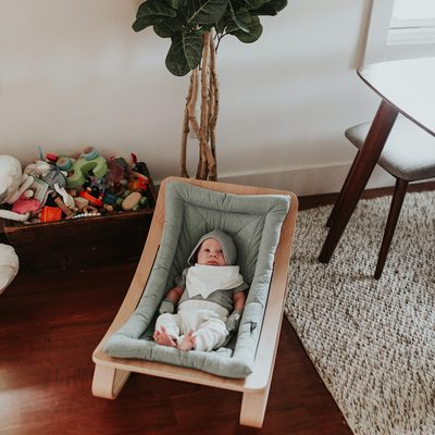 INTRODUCING THE LEVO WOOD ROCKER.  You can purchase this beautiful wood rocker on our site.  Click the link in the bio and on this image in our like shop. These compliement our playgyms and make a gorgeous addition to your home. @senaenelson #finnandemma