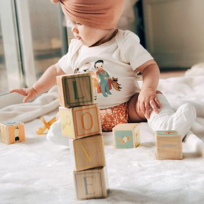 """Our wood blocks inspired by the book """"The Wonderful Things You Will Be"""" are baby's favorite play and developmental tool.  When they aren't using them, they can sit up on a shelf as decoration spelling lovely messages. @kaileybrooke10 #finnandemma"""