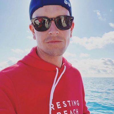 BEACH BABE ALERT: 🏖photographer/artist @graymalin resting his beach face in MILLY! #graymalin #restingbeachface #friday ❤️ Shop MILLY merch 👆