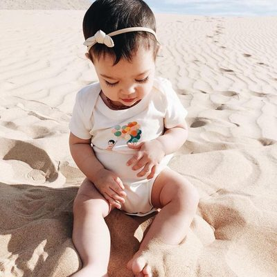 Is it summer yet? Our beautiful balloon boy onsie was inspired by Emily Winfield Martin's book,  The Wonderful Things Your Will Be.  It makes us fly away to this secluded beach. What about you? Where do you want to fly away?