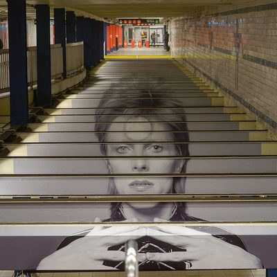 David Bowie art has taken over an NYC subway station! Go see it at Broadway-Lafayette and tag #timeoutnewyork (and see the link in our bio to find out how to get a Bowie MetroCard). (📷 @nydetour)