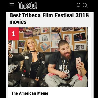 Repost @parishilton: So excited that my new film #TheAmericanMeme is #1 on @TimeOutNewYork's top 10 films at this year's @TribecaFilmFestival!  See me & the rest of the cast like never before! 🔥 #TheAmericanMeme #Tribeca2018.