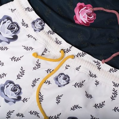 """Serpente Swimshorts decorated with elegant flowerprint inspired by 'Millefleur"""" meaning a thousand flowers."""