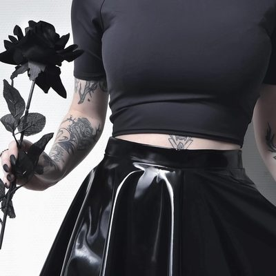 Black is such a happy colour 🖤 Shop the outfit by tapping! @kibbipixel #blackmilkclothing #blackmilk #bmpvcskaterskirt #bmmatteofftheshouldercrop