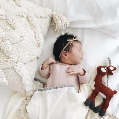 Who is your little babies best friend?  This picture is showing our fawn rattle buddy.  All our stuffed toys are hand knit by a women's collaborative in peru.  They are organic cotton and stuff with lambs wool.  Only the best for your little one's best friend. @kallimarie #finnandemma