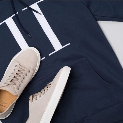 """Expand your warderobe with classy details. Simple Carterton hoodie with original """"II"""" logo made out of velour or some handmade suede sneakers 👟. #lesdeux"""