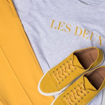 Brighten up your wardrobe with a pair of Hermité Track Pants, accompanied by a pair of Albert suede shoes. #lesdeux #trackpants #sneakers