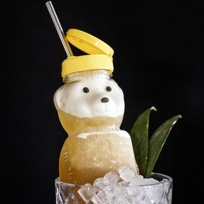 So that's the cutest #cocktailoftheweek ever. Find the pineapple-and-sherry Havana Honey Bear at @sundayinbrooklyn!