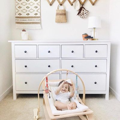 Our Play gym and Rockers are a perfect pair.  We have both available in light or dark wood.  A comfy place for baby to be entertained! Thank you @littleredbowtique for sharing! 💕