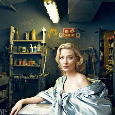 """Cate Blanchett has joined the chorus of women who have spoken out against Harvey Weinstein, accusing him of sexual misconduct: """"I think he really primarily preyed, like most predators, on the vulnerable. I mean, I got a bad feeling from him. . . . He would often say to me, 'We're not friends.'"""" At the link in bio, Blanchett explains why we have to set a legal precedent for those who, like Weinstein, """"have transgressed in ways that are beyond the bounds of offensive."""" Photograph by Annie Leibovitz for V.F. February 2009."""