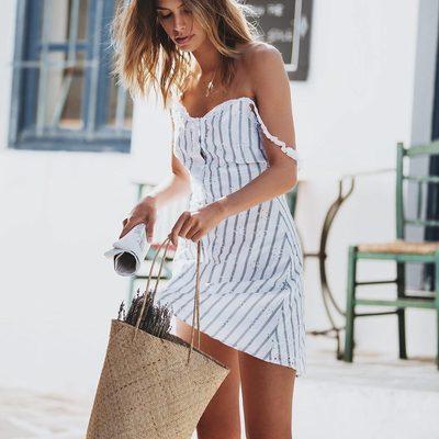 Light & airy blue stripe cotton 🌾 🦋The Picnic Eyelet Mini Dress