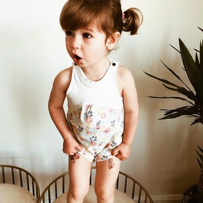 Who is excited about this warm weather? 👋🏻 This little cutie  is the daughter of one of our Finn + Emma team members. (@2oots) She is ready to rock some wildflower collection!  #finnandemma