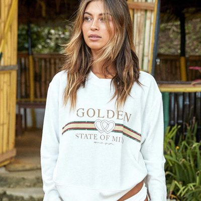 Let your soul shine ☀  Our dream summer sweatshirt is back — link in bio to shop  #goldenstateofmind #raiseyourvibration #spiritualgangster
