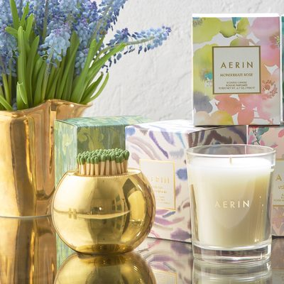 The new #AERINhome candles. The smaller version of the original #AERIN scented candles. Now available on AERIN.com. Link in bio.