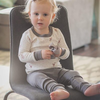 Jammies all day long.  Its nearly impossible to get your little one to change out of our comfy 100% organic Pj's.  This little lady is wearing our fawn print pj.  But check out all of them by going to the bio and clicking on this picture @babybaileymamadrama . #finnandemma