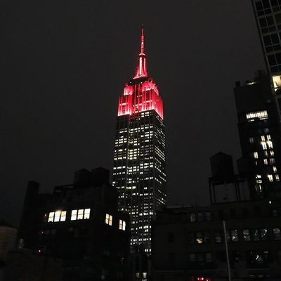 We just lit up the Empire State Building in red for Time Out! Send us your #timeoutnewyork photos and we'll share 'em in our Insta Story now. (📷 @rebeccaefontana) @empirestatebldg @refineryrooftop