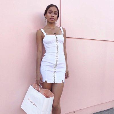 She's back⭐️ The newly restocked Monika Hook Front Dress @zaharaadavis
