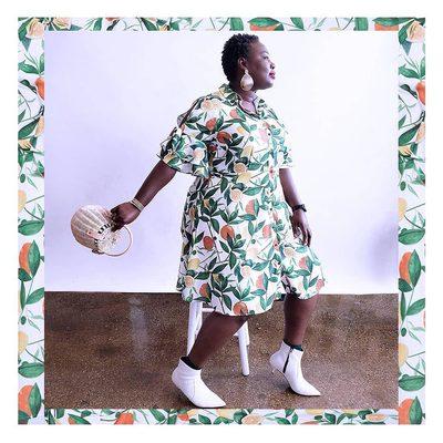 Oranges, lemons, leaves, oh my! 🍋  Get @misslionhunter's Printed Shirt Dress at the link in bio 🍊 #XOQ