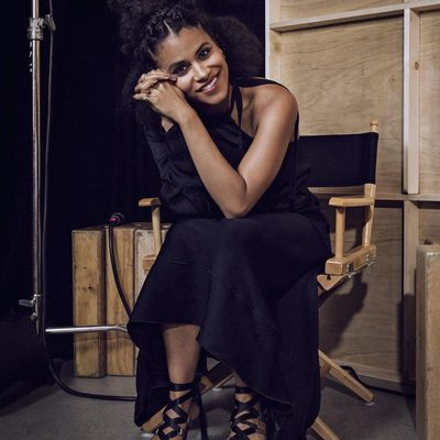 """Domino, @ZazieBeetz's lucky heroine, is arguably the best thing about #Deadpool 2. As the actress says, """"I think black women are often depicted specifically in terms of the struggle, and never having the privilege of feeling light at heart and feeling that release, right? And that is a pretty cool thing to see on a screen."""" At the link in bio, Beetz talks to @vfhwd about managing her anxiety and what the future holds for the Domino—outside of Deadpool. 📸: @justbish"""