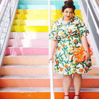 """Just one pop of color? 🍋 How about several! 🍊  @mintsociety wears our """"Main Squeeze"""" Printed Shirt Dress #XOQ"""