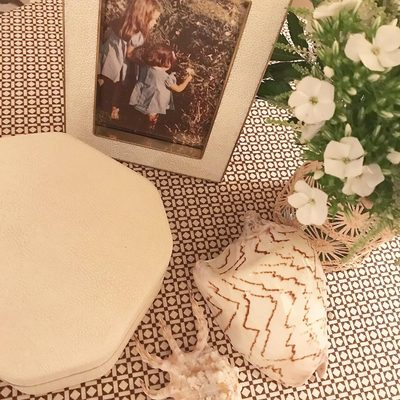The AERIN Cream Shagreen Frame and Octagonal Box... Perfect décor for any vanity. #AERINhome