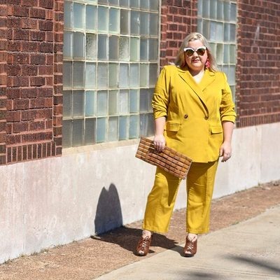 """Have you heard? Yellow is the new pink ☀ @stylecassentials wears our double breasted blazer and trouser in """"Nugget Yellow"""" #XOQ"""