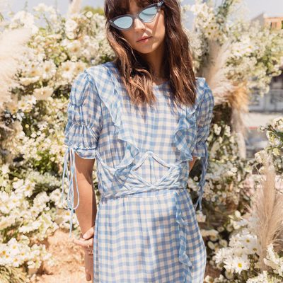 Sweet in gingham @valentinaruby wears the Dorothy Ruffle Midi Dress 🦋☁️💙