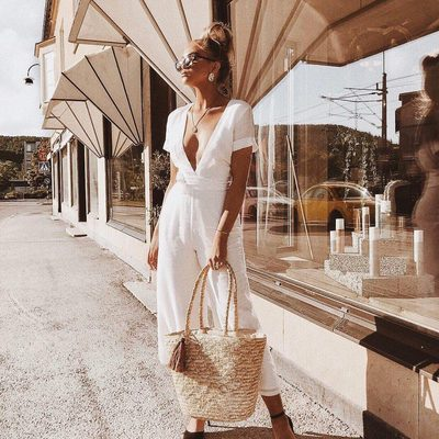 all white in just the right sunlight ☀ @wefelicia in the norwalk jumpsuit #bybabesforbabes