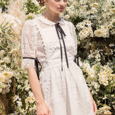 Better together 🌼 The Dakota Lace Blouse under the Charlotte Eyelet Overalls Mini Dress.