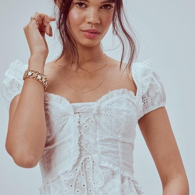 Laced up in eyelet hearts 💕 The Charlotte Eyelet Lace Up Blouse