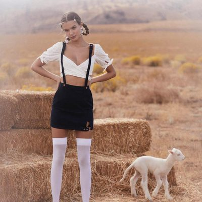 Baby lamb not included :/ The Charlotte Wrap top & Daria Overalls Mini Skirt ✨
