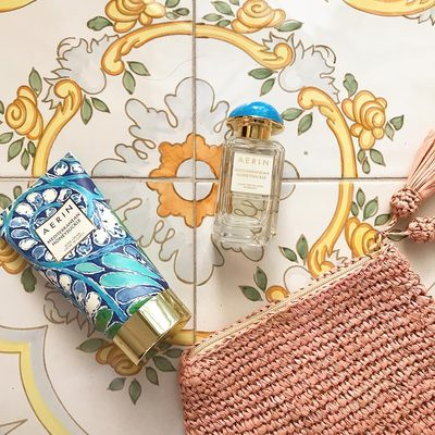 Mediterranean Honeysuckle feeling right at home at the magical @lesirenuse. The packaging was inspired by the beautiful tiles of the Amalfi coast #AERINbeauty #AERINaccessories.