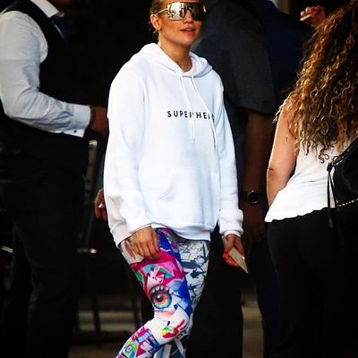 "FRIDAY FEELS! @jlo slaying NYC in her MILLY x GIRLSINC ""Superhero"" hoodie.  YAASSS!!! Loooooove you, Jlo! ❤️ (Hoodie on MILLY.com- portion of proceeds benefits @girlsincnyc #millymoment #jlo #hoodie #superhero"