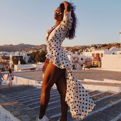 Glowing in Greece 💫 @justineskye stuns in the Lexington Maxi Dress.