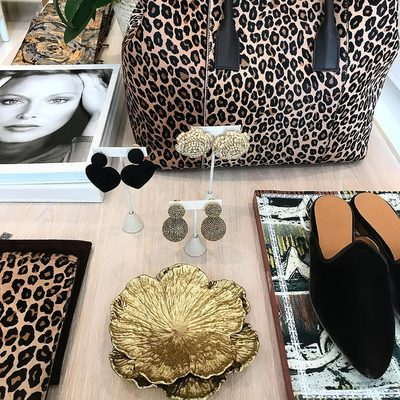 Seeing spots... But that is ok... Love our new Mini Weekender in leopard and beautiful new pieces from @rderavenel and @le.monde.beryl
