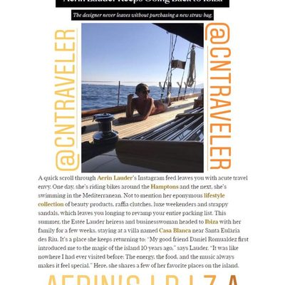 Thank you @cntraveler for a great piece on Ibiza. Watch Instagram stories for more travel tips and suggestions about one of my favorite holiday destinations.